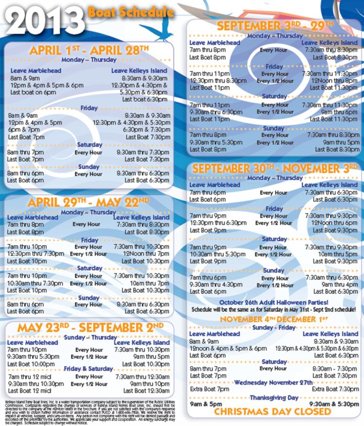 Kelleys Island Ferry Schedule
